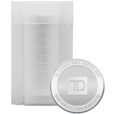 A picture of a 1/2 oz TD Silver Round Tube (20 pieces)