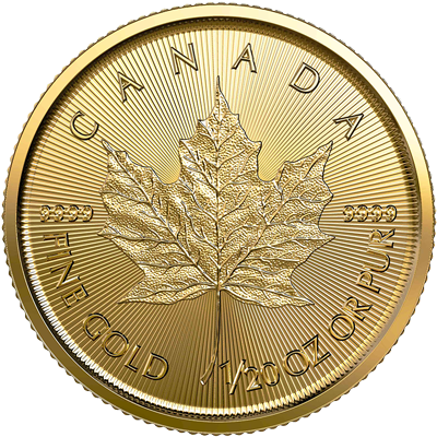 A picture of a 1/20 oz Gold Maple Leaf Coin (2020)