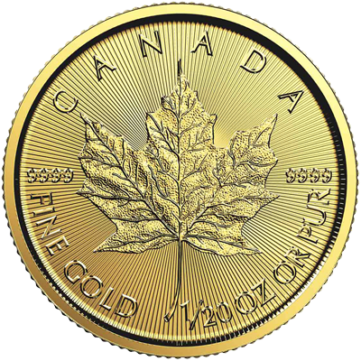 A picture of a 1/20 oz. Gold Maple Leaf Coin (Random Year)