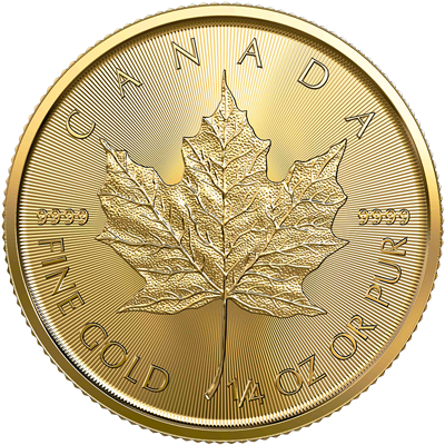 A picture of a 1/4 oz Gold Maple Leaf Coin (2020)