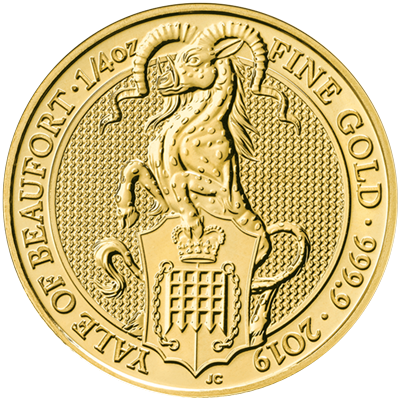 A picture of a 1/4 oz Queen's Beast Yale of Beaufort Gold Coin (2019)