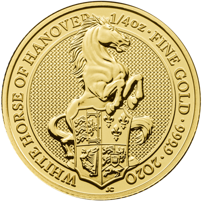 A picture of a 1/4 oz Great Britain Queen's Beast White Horse Gold Coin (2020)