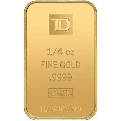 A picture of a 1/4 oz TD Gold Bar