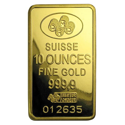 A picture of a 10 oz Gold Bar- PAMP Suisse Lady Fortuna (w/ Assay)