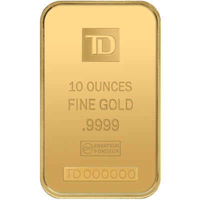 A picture of a 10 oz TD Gold Bar