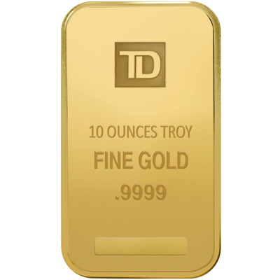 A picture of a 10 oz. TD Gold Bar