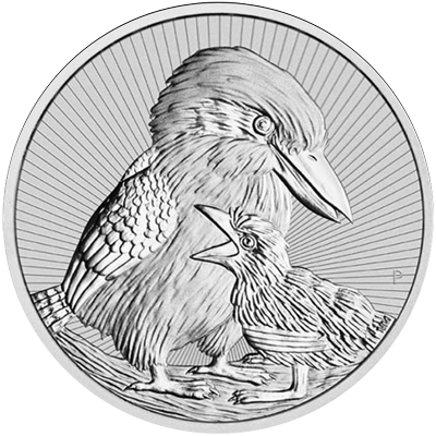 A picture of a 2 oz Australian Mother & Baby Kookaburra Silver Coin (2020)