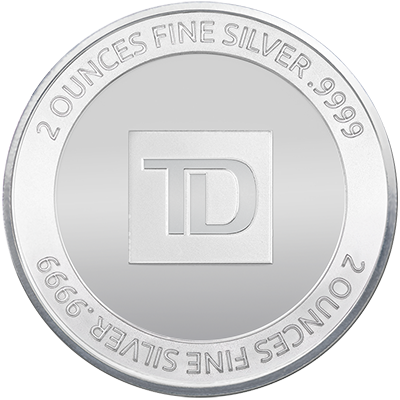 A picture of a 2 oz. TD Silver Round