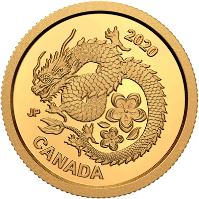 A picture of a 1/25 oz Lucky Flower Dragon Gold Coin (2020)