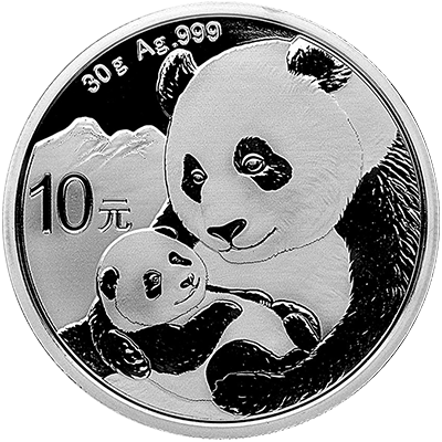 A picture of a 30 gram Silver Chinese Panda (2019)