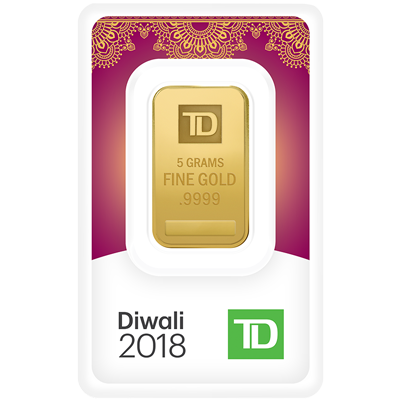 A picture of a 5 gram TD Diwali Gold Bar (2018)