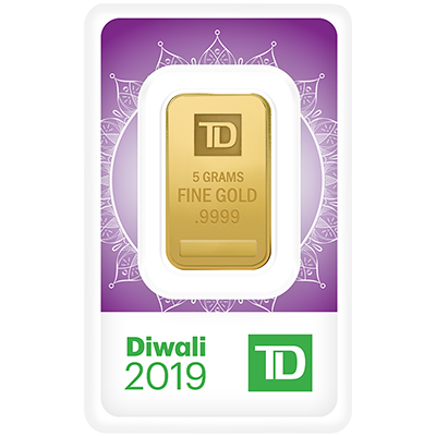 A picture of a 5 gram TD Diwali Gold Bar (2019)
