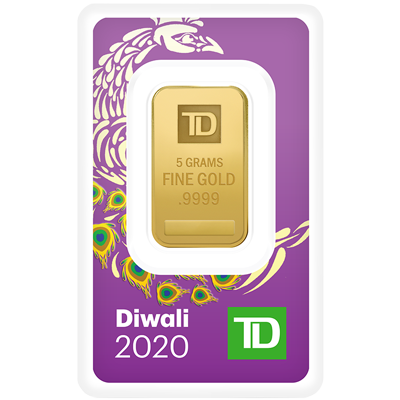 A picture of a 5 gram TD Diwali Gold Bar (2020)