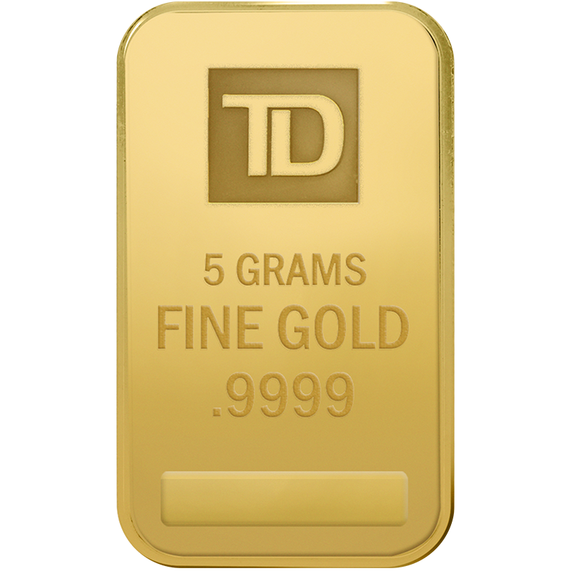 A picture of a 5 gram TD Gold Bar