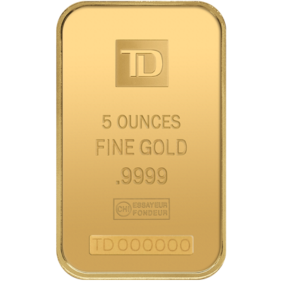 A picture of a 5 oz TD Gold Bar