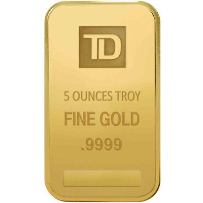 A picture of a 5 oz. TD Gold Bar
