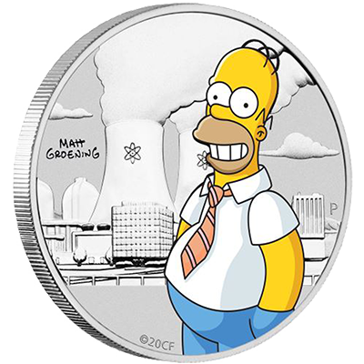 A picture of a The Simpsons- 1/2 oz Homer Simpson Silver Coin (2020)