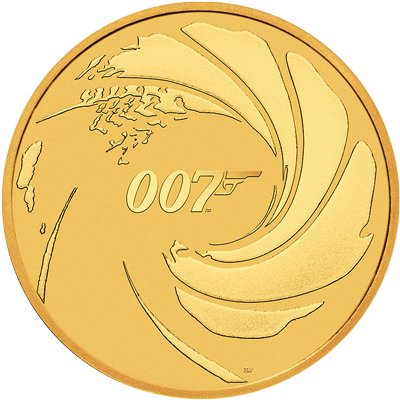 A picture of a 1 oz James Bond 007 Gold Coin