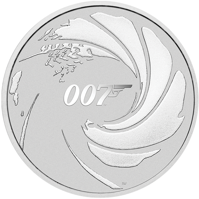 A picture of a 1 oz James Bond 007 Silver Coin