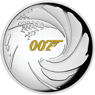 A picture of a James Bond 007 1 oz Silver Proof High Relief Coin