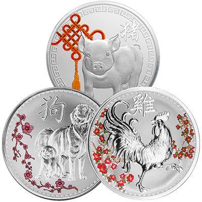 A picture of a 3 oz. Lunar New Year Silver Bundle (1 oz. /piece)