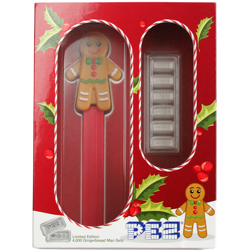Image for PEZ® Gingerbread Man Silver Wafers & Dispenser Gift Set from TD Precious Metals