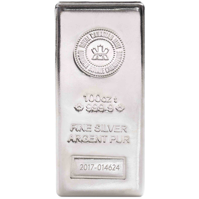 A picture of a Circulated 100 oz Royal Canadian Mint Silver Bar