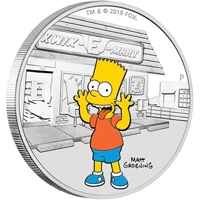 A picture of a The Simpsons-1 oz Bart Simpson Silver Coin (2019)