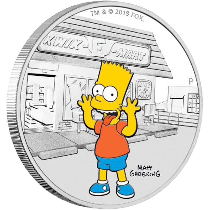 Image for The Simpsons-1 oz Bart Simpson Silver Coin (2019) from TD Precious Metals