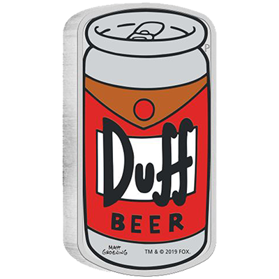 A picture of a The Simpsons-1 oz Duff Beer Silver Coin (2019)