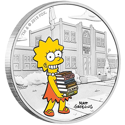 A picture of a The Simpons- 1 oz Lisa Simpson Silver Coin (2019)