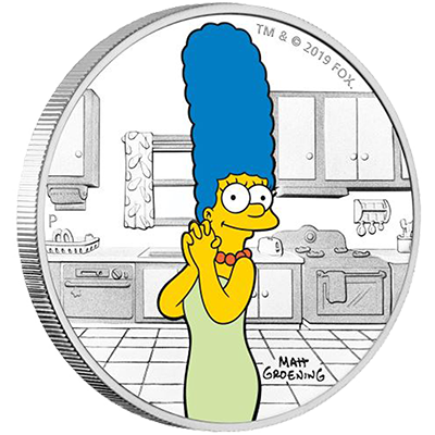 A picture of a The Simpsons-1 oz Marge Simpson Silver Coin (2019)