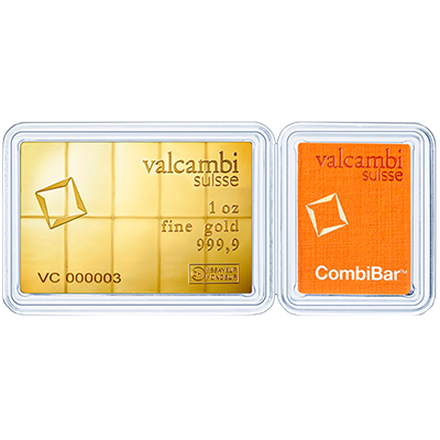 A picture of a 1 oz Gold Valcambi CombiBar
