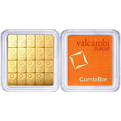 A picture of a 20 gram Gold Valcambi CombiBar
